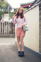 light purple lavender knit phebely sweater - aquamarine pastels purse nomine bag