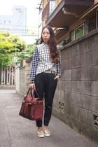 ruby red vintage bag - navy side stripe estnation pants - beige pippi loafers