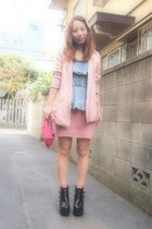 black busted Jeffrey Campbell boots - light pink pinky jacket 2TOKYO jacket