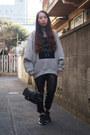 Heather-gray-acne-studios-sweatshirt-black-leather-dholic-pants