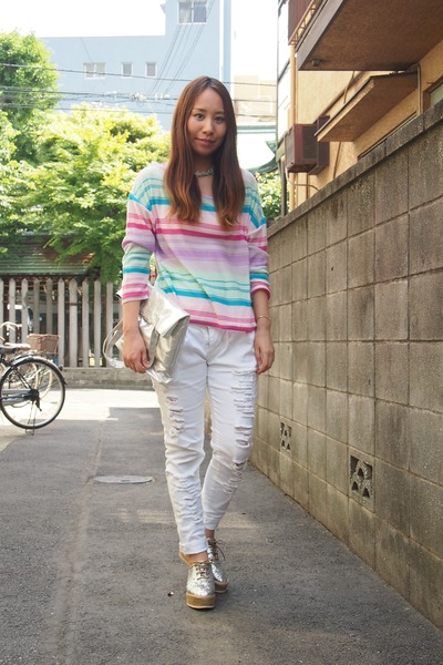 white machatt pants - bubble gum nadesico sweater - silver DHOLIC bag