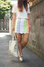 Bubble-gum-lillilly-skirt-white-dholic-shirt-silver-metallic-tote-dholic-bag