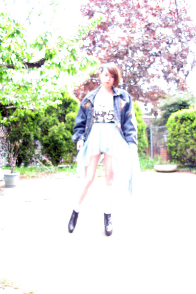 navy vintage jacket - white socks - sky blue no brand skirt - white no brand t-s