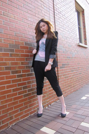 black Forever 21 blazer - gray Forever 21 top - black Forever 21 pants - black U