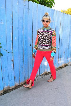 Sheinside blouse - Prada sunglasses - les copains pants