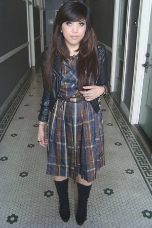 H&amp;M jacket - AMERICAN VINTAGE dress - vintage dior belt - vintage from jetrag bo