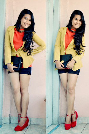 Lady Belle blazer - Chicoshop top - unbranded pants - Cizzyus Connection wedges