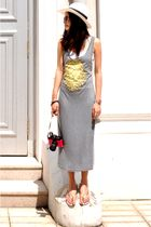 gray Stylenanda dress - gold Ipanema shoes - white Sinequanone hat - red Swatch