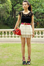 Red-cherry-koko-purse-beige-unknown-skirt-black-forever-new-top-pink-vinta
