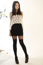 white cotton on vest - brown Fendi shoes - black Topshop stockings