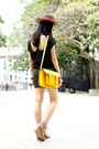 Yellow-cambridge-satchel-company-bag-black-something-else-t-shirt-black-cott