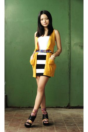 yellow Bershka cardigan - black carolinna espinosa shoes - white H&M skirt