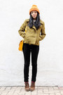 Brown-jipijapa-shoes-olive-green-sparkle-fade-coat-black-bdg-jeans-ivory
