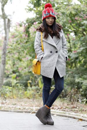mustard cambridge satchel bag - heather gray boutique coat - navy Uniqlo jeans