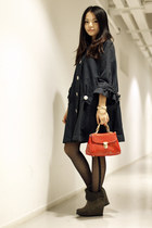 navy cha to port coat - black unknown brand tights - gray staccato shoes - red C