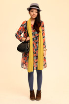 ruby red Monki dress - mustard Zara scarf - violet American Apparel tights - dar