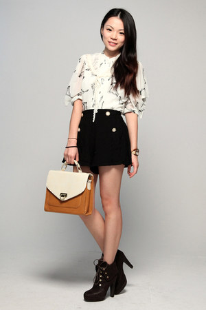 dark brown Millies shoes - black asos shorts - ivory Peoples Market blouse