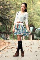 sky blue asos dress - brown Zara belt - ivory iijin cardigan - dark brown jipija