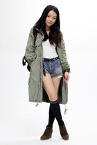 olive green fob coat - white H&M vest - sky blue Ksubi jeans - dark brown jipija