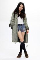 olive green fob coat - white H&M vest - sky blue Ksubi jeans - dark brown jipija