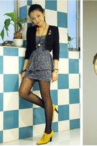 black fob blazer - yellow mary bible shoes - blue Kimchi Blue dress