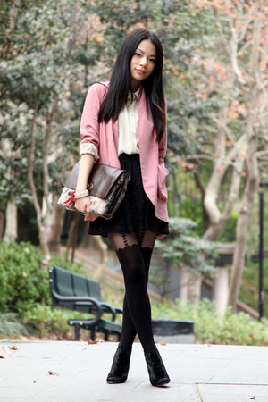 pink Kimchi Blue blazer - nude Monki shirt - black Topshop tights - dark brown d
