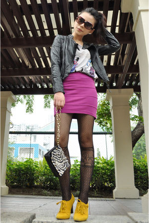 black horace jacket - white jummy choo for H&M purse - yellow mary bible shoes -