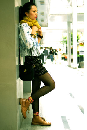 black Steve Madden stockings - brown free people shoes - blue Topshop shirt