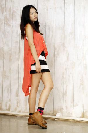 orange asos vest - brown Clarks shoes - black H&M skirt