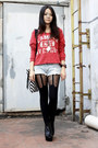 Red-truly-madly-deeply-sweater-light-blue-abercrombie-and-fitch-shorts-black