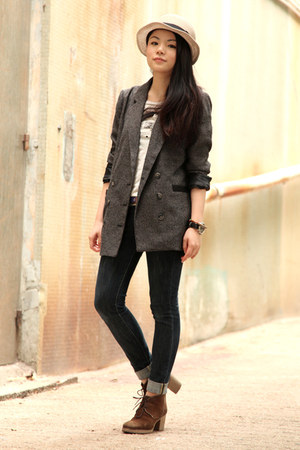 tan from Tokyo hat - dark brown jipijapa boots - navy Uniqlo jeans