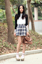 heather gray BDG skirt - white pins n needles shirt - brown jeanasis bag