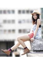 blue sass & bide vest - pink American Apparel shorts - brown Clarks shoes