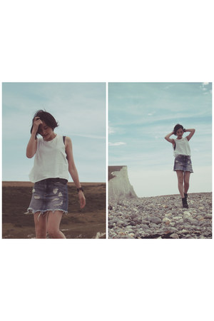 white H&M top - charcoal gray Zara top - sky blue H&M skirt