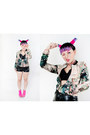 Light-pink-sheinside-jacket-black-h-m-shorts-black-forever21-top