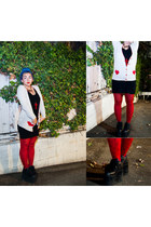 black sweater dress H&M dress - ruby red Forever21 tights