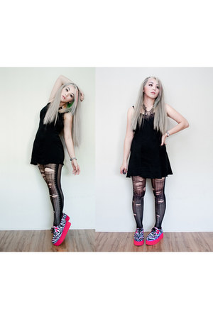 hot pink OASAP shoes - black dress - black Hot Topic accessories