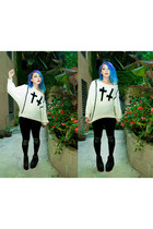 black lip service leggings - white Sheinsidecom jumper - black YRU sneakers