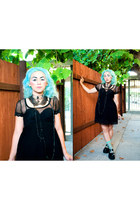 goth choker Hot Topic necklace - BedTu shoes - Forever21 dress - Forever21 socks