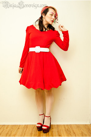 red Sheinside dress - eggshell Forever 21 tights - white wide belt belt
