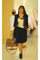Nine West boots - black Zara dress - thrifted blazer - Givenchy bag - off white