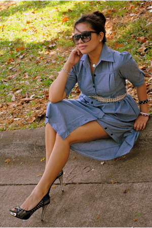 beaded Nine West shoes - denim bangkok dress - Tiffany & Co accessories - studde