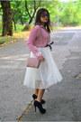 Nine-west-boots-mango-bag-accessorize-necklace-sheer-thrifted-vintage-blou