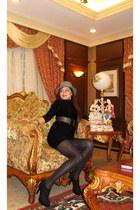 Nine West boots - Zara dress - Zara hat - studded belt - bracelet Louis Vuitton
