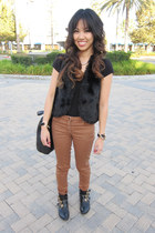 black fur olsenboye vest - black buckled ankle Dolce Vita for Target boots