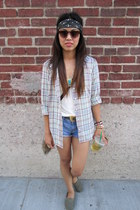 H&M top - slip-ons TOMS shoes - denim cutoffs American Eagle shorts