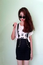black rounded glasses - black skirt - black suspenders belt