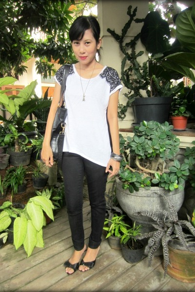 black Zara pants - white hi-lo lace Forever 21 top