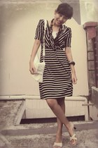 black striped icons dress - white studded OASAP bag