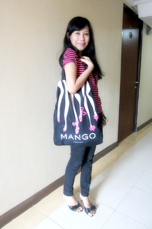 black Zara jeans - pink tote Mango bag